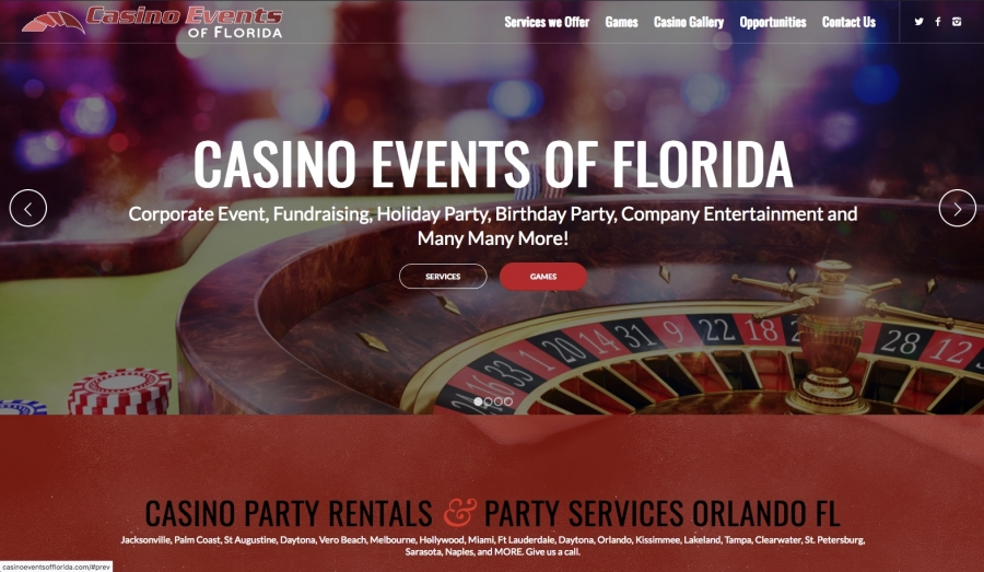 Casino Events Website preview